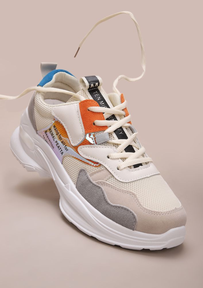 COOL IN COLORS ORANGE WHITE TRAINERS