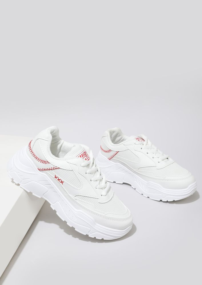 ON YOUR MARKS WHITE RED TRAINERS