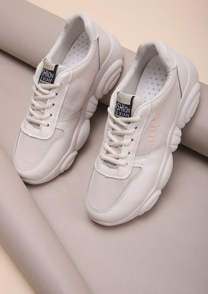 COMING IN A HEARTBEAT BEIGE TRAINERS