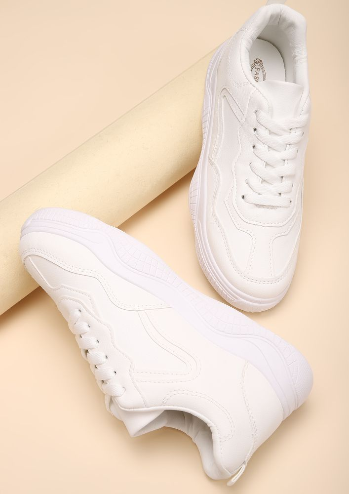SPORTY AND WHITE BEIGE TRAINERS