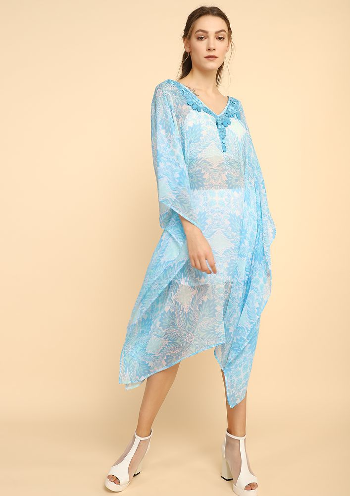 BREATHE IN THE OCEAN TURQUOISE BLUE COVER-UP