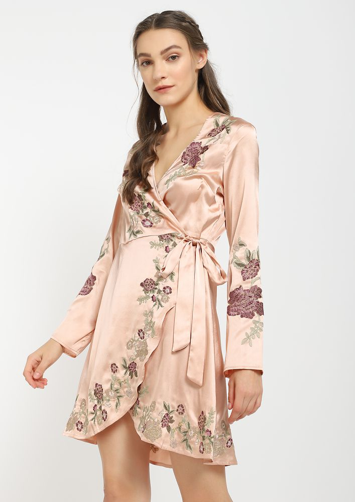 NOT TODAY HONEY PINK WRAP DRESS