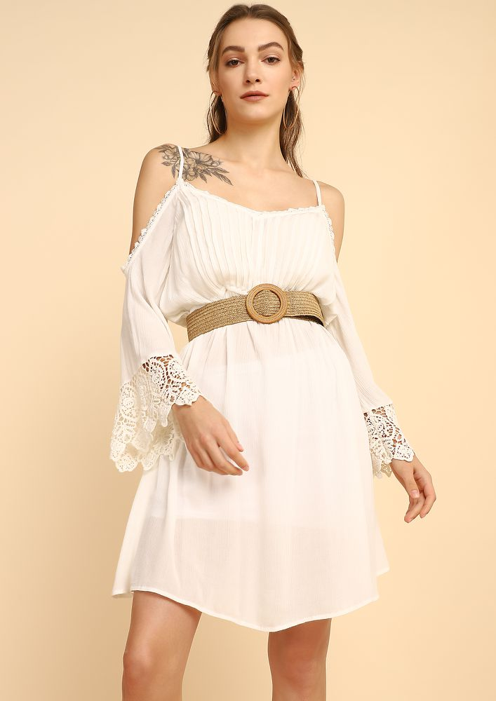 THE CROCHET ROMANCE WHITE SHIFT DRESS