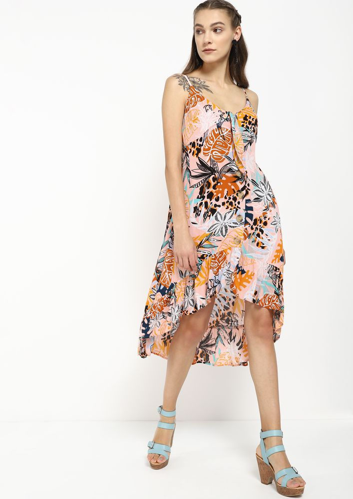 CHASING THE SUNSHINE MULTICOLOR ASYMMETRICAL DRESS