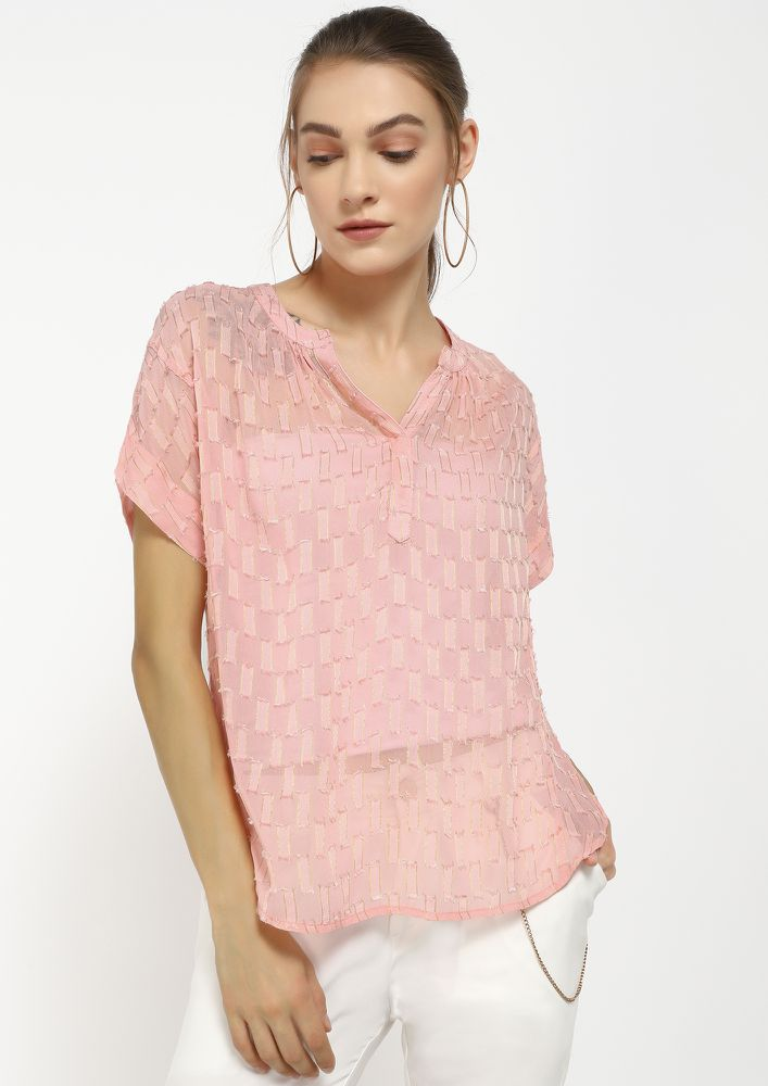 SQUARE AND OUT PINK SHIRT