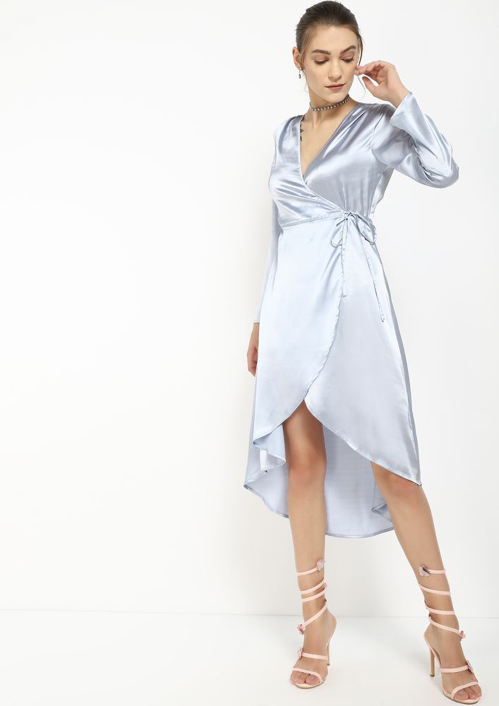 ALL SLICKED UP BLUE ASYMMETRICAL WRAP DRESS