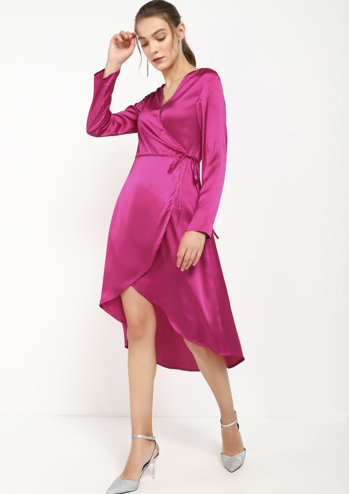 ALL SLICKED UP PINK ASYMMETRICAL WRAP DRESS
