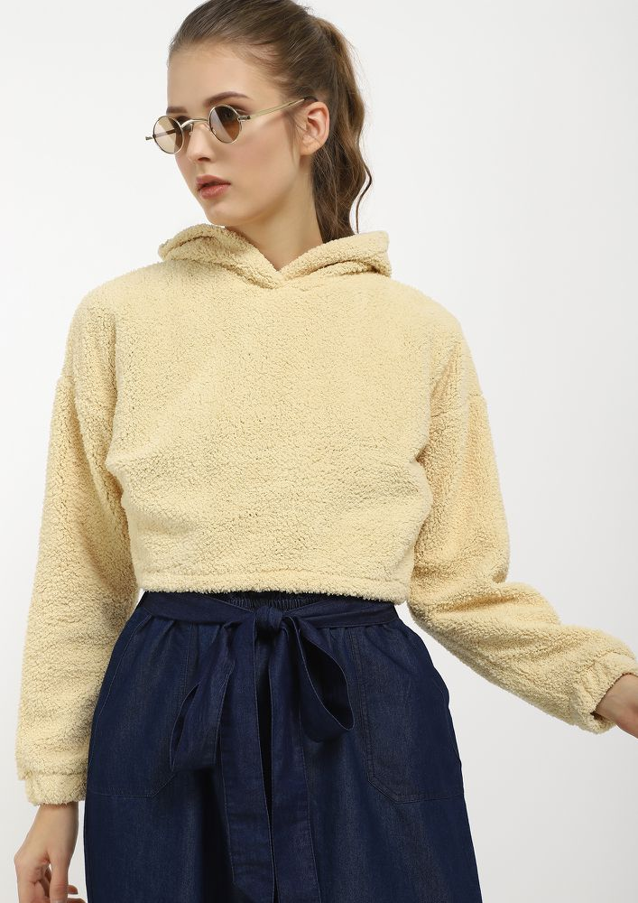 MY COMFIEST BEST BEIGE CROPPED SWEATSHIRT
