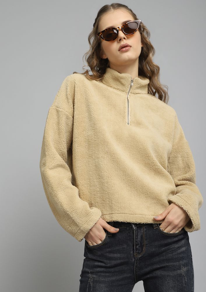 THE WARMEST BASIC BEIGE CROPPED SWEATSHIRT
