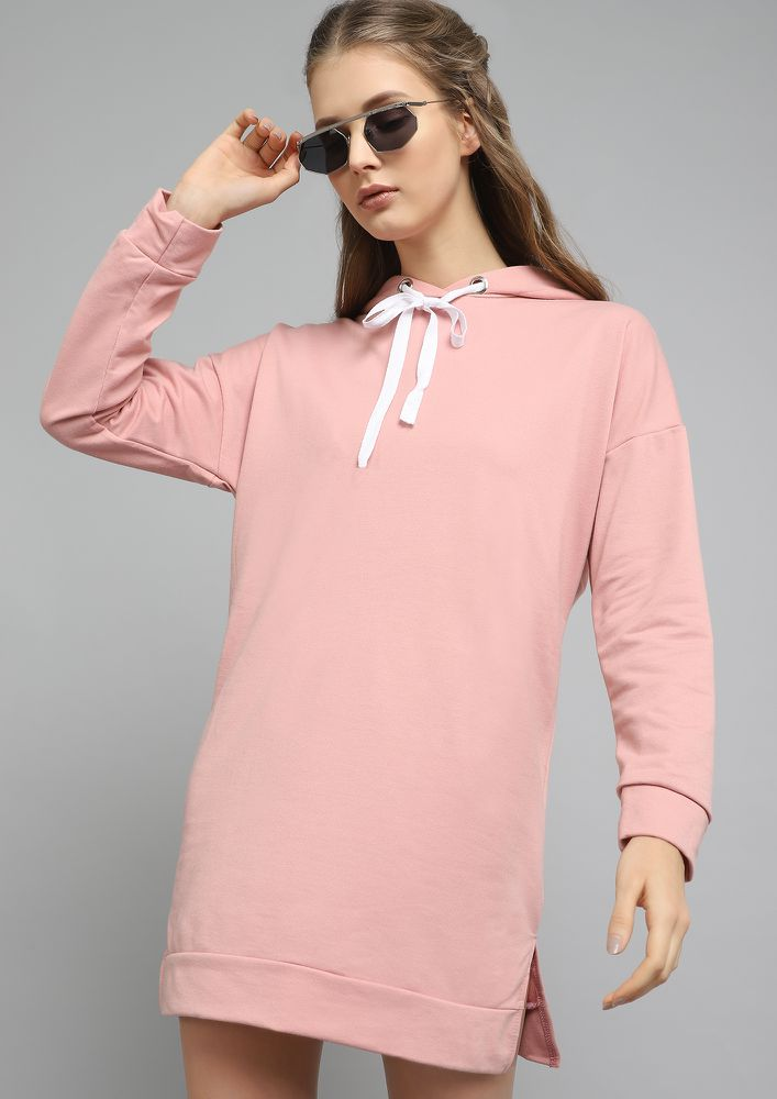 FIND ME COZY IN PINK JUMPER DRESS