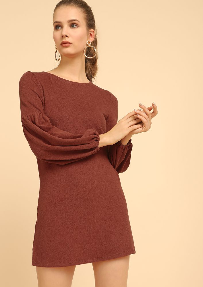 KNIT ATTITUDE RUST SHIFT DRESS