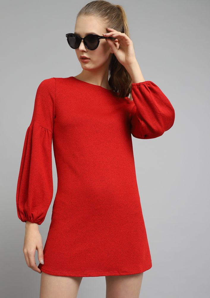 KNIT ATTITUDE RED SHIFT DRESS