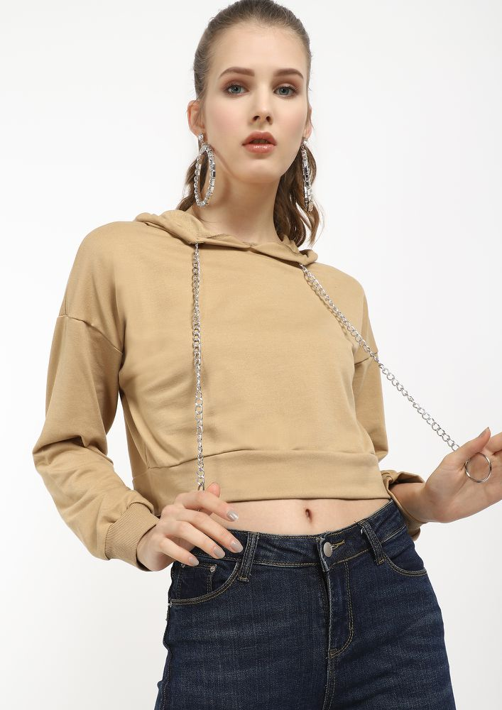 O-RINGS AND A HOOD KHAKI CROPPED SWEATSHIRT
