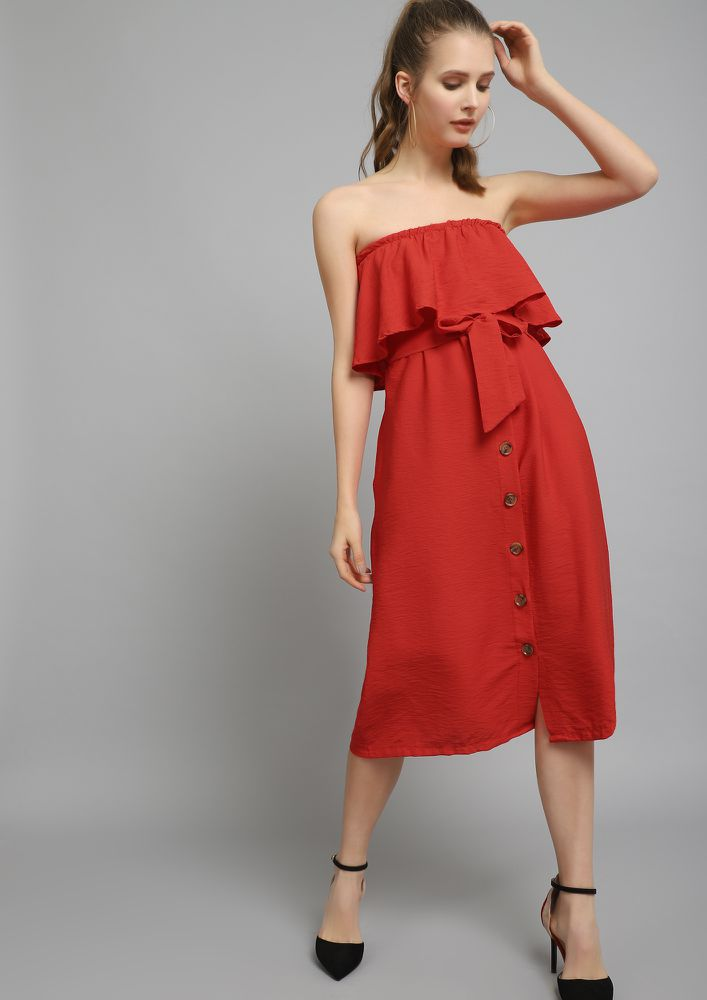 NOBODY'S BUSINESS RED OFF-SHOULDER DRESS