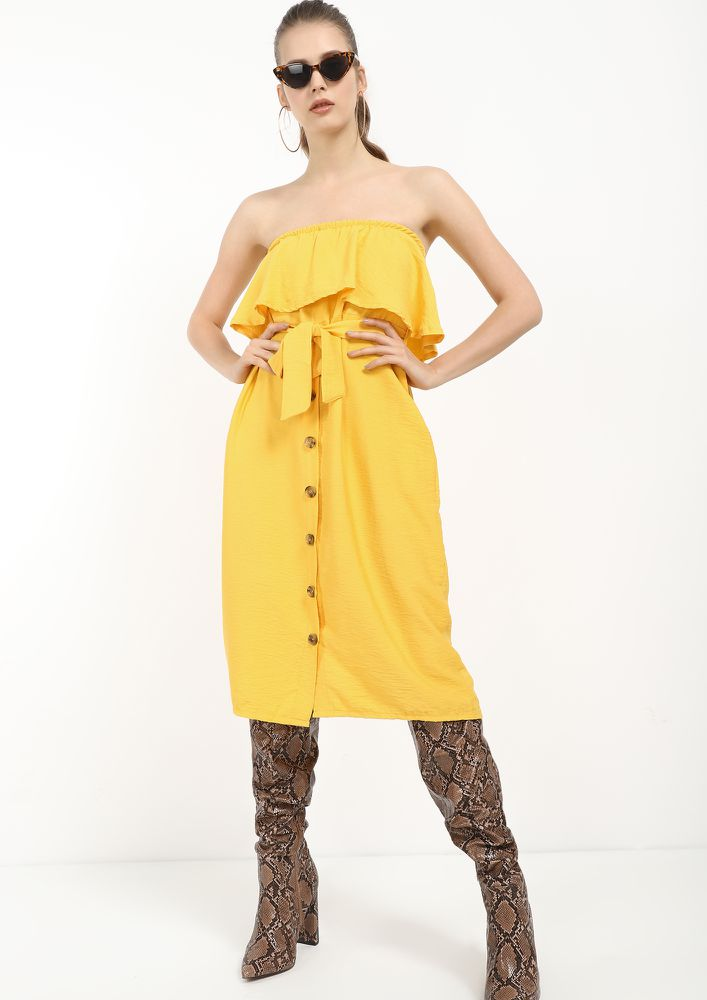 NOBODY'S BUSINESS YELLOW OFF-SHOULDER DRESS