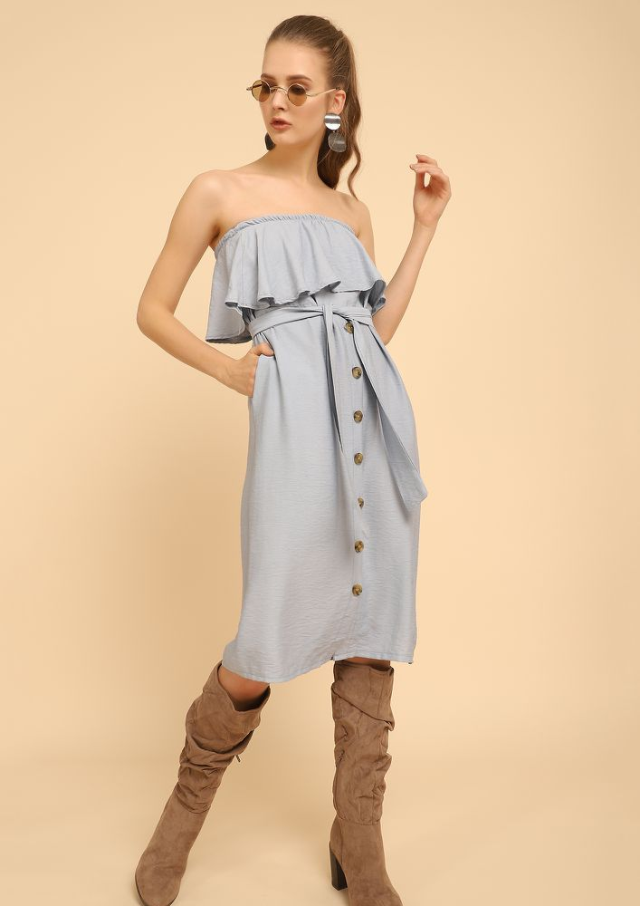 NOBODY'S BUSINESS BLUE OFF-SHOULDER DRESS