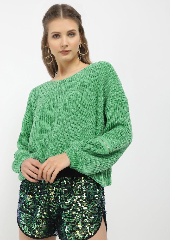 GOOD DAY SWEETHEART GREEN JUMPER