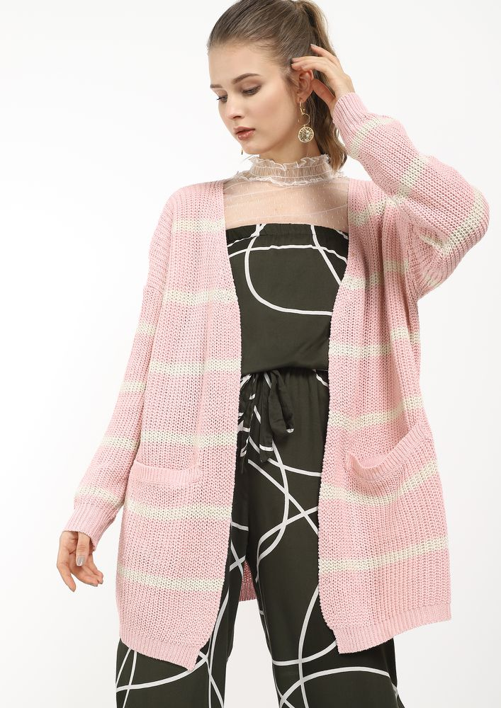 KNIT BE SO WARM PINK CARDIGAN