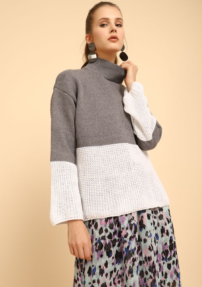 FALL RIGHT IN KNIT GREY JUMPER