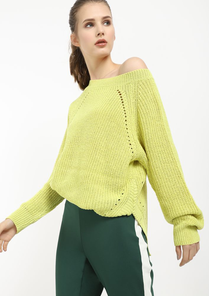 GET YOUR KNIT RIGHT LEMON GREEN JUMPER