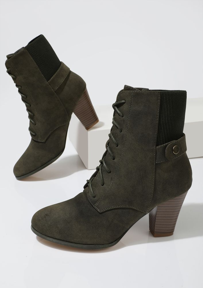 SLAY WITH GREEN ANKLE BOOTS