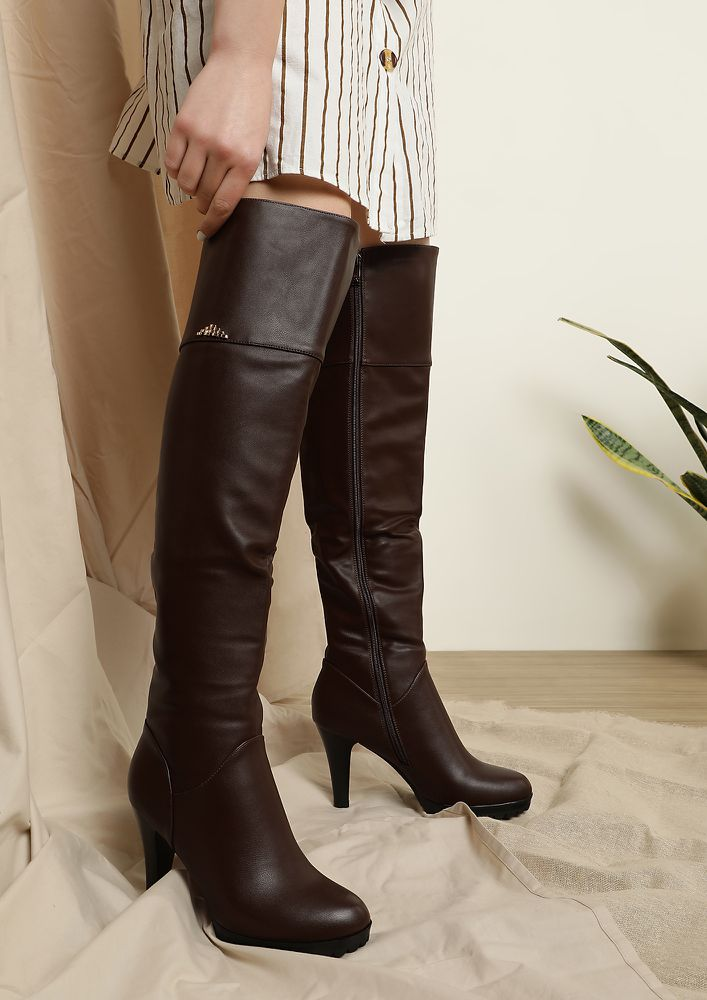 SASSY BOSSY BROWN KNEE-HIGH BOOTS