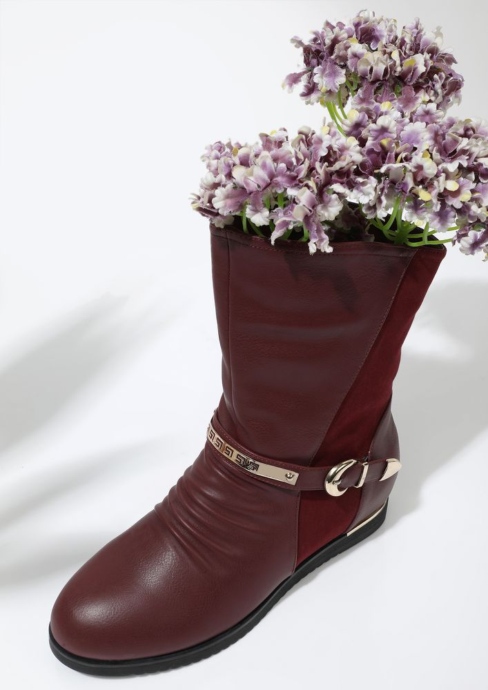 IN TWO MINDS WINE MID-CALF BOOTS