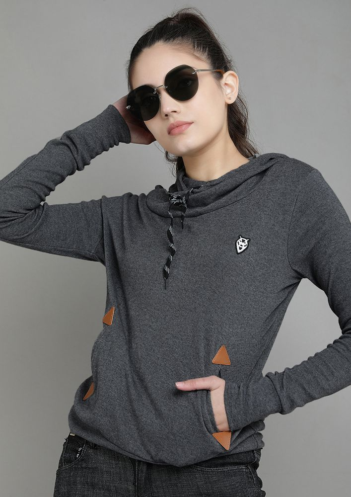 NO COLD DAYS DARK GREY HOODED T-SHIRT