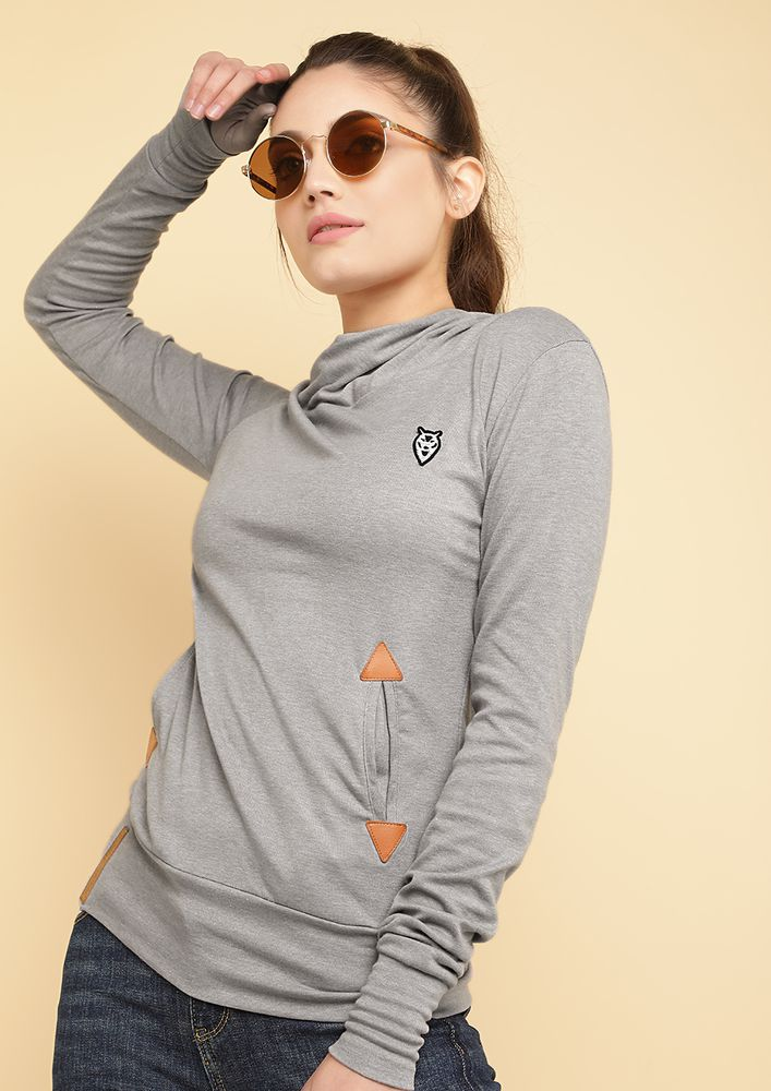 NO COLD DAYS GREY HOODED T-SHIRT