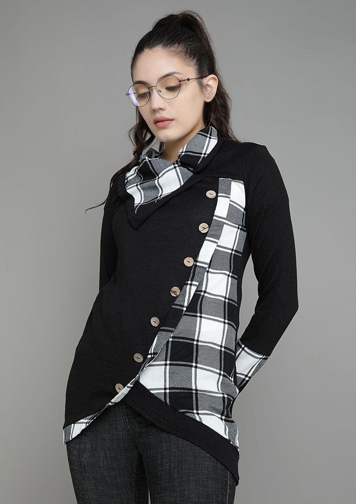 PLAID WITH BUTTONS BLACK TUNIC TOP