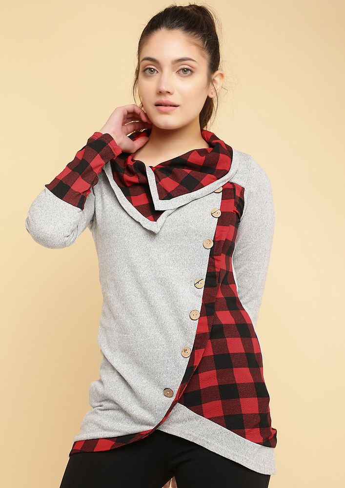 PLAID WITH BUTTONS GREY TUNIC TOP