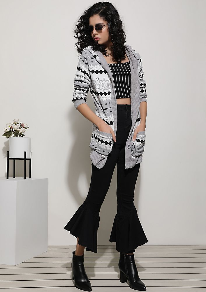 POWER PATTERNS GREY CARDIGAN