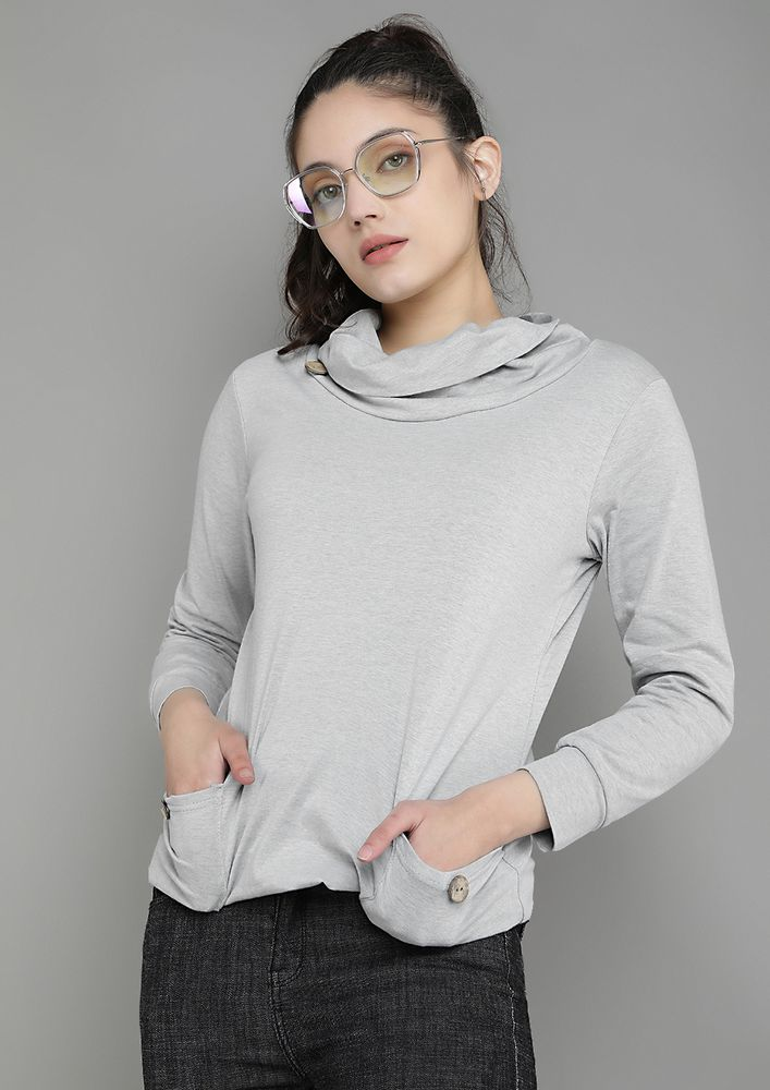 OUT FOR THE CHILL LIGHT GREY SWEATSHIRT