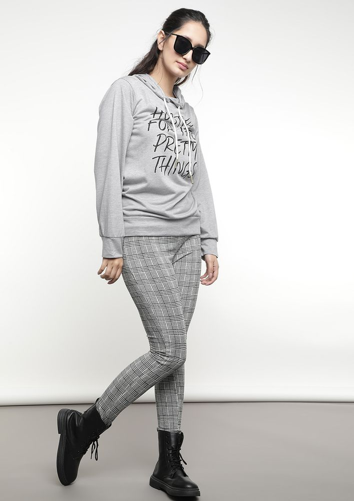 HUSTLE FOR PRETTY THINGS GREY HOODIE