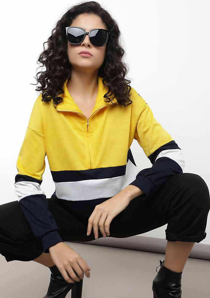 BLOCKING BAD THOUGHTS YELLOW SWEATSHIRT