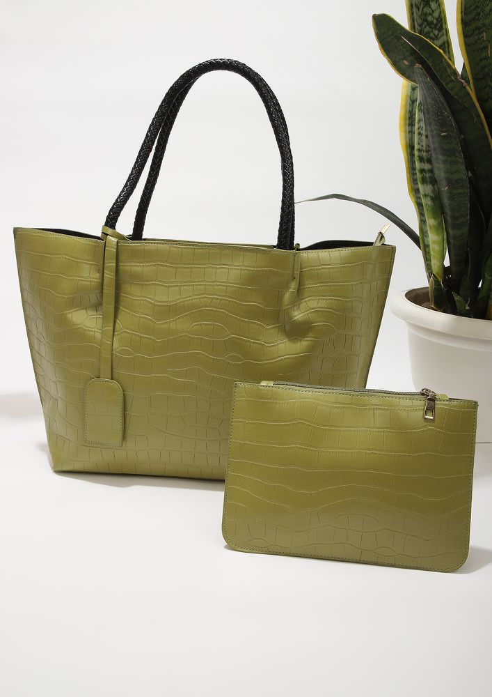 SO PRIM AND POLISHED GREEN TOTE BAG