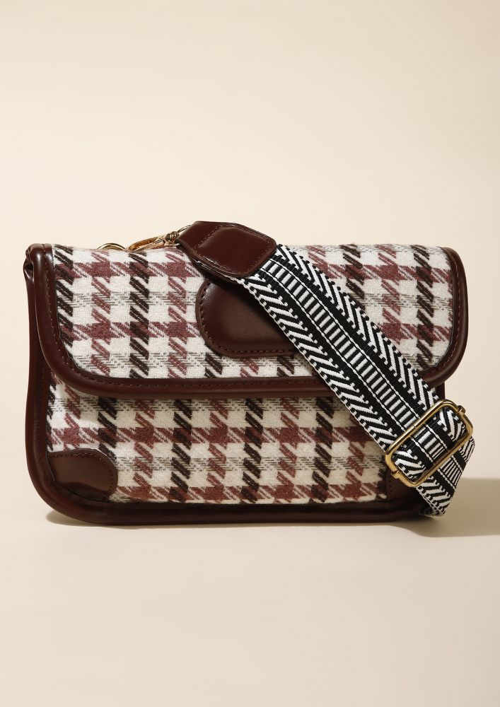 WOVEN WITH CARE BROWN SLING BAG