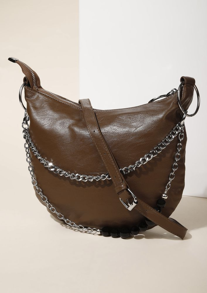 STAYING NEUTRAL TAN HOBO HANDBAG