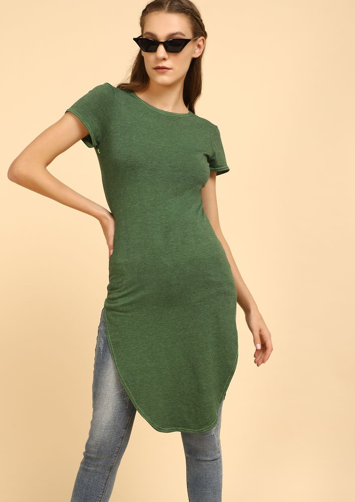 HELLO BESTFRIEND DARK GREEN TUNIC TOP