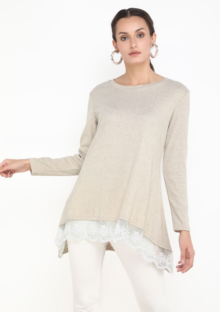 LACE ME UP APRICOT TUNIC TOP