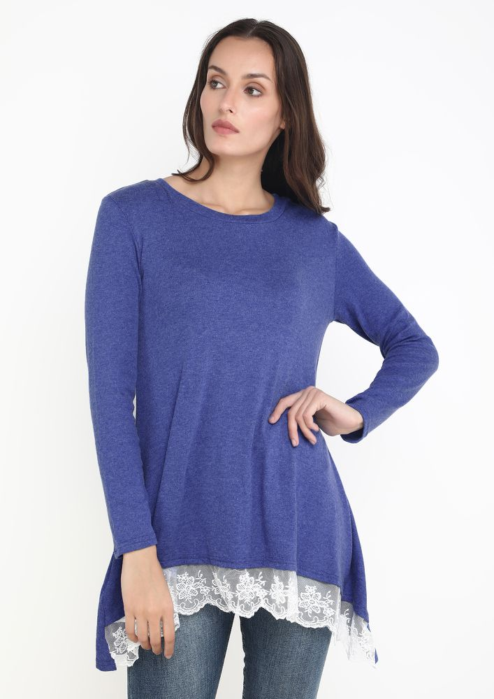 LACE ME UP BLUE TUNIC TOP