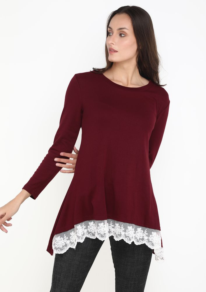 LACE ME UP WINE TUNIC TOP