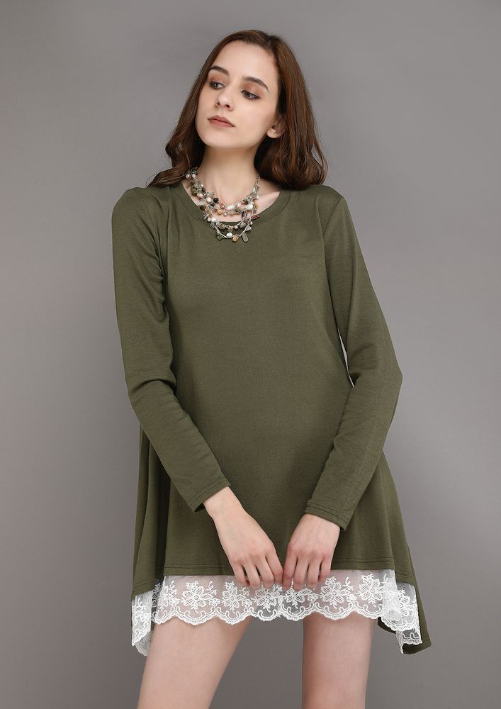 LACE ME UP GREEN TUNIC TOP