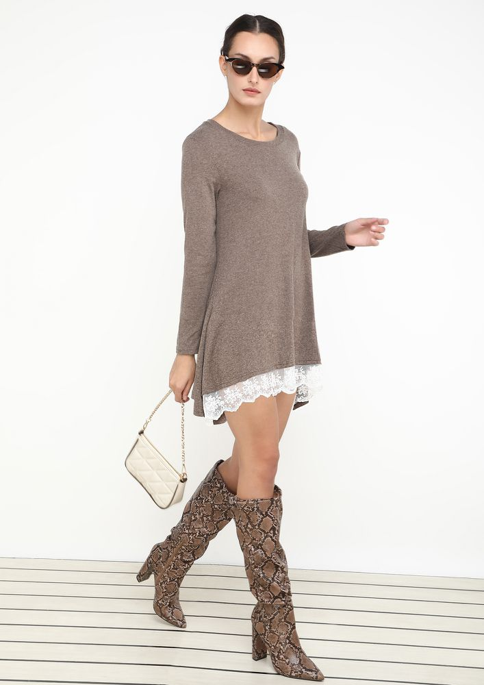 LACE ME UP COFFEE TUNIC TOP