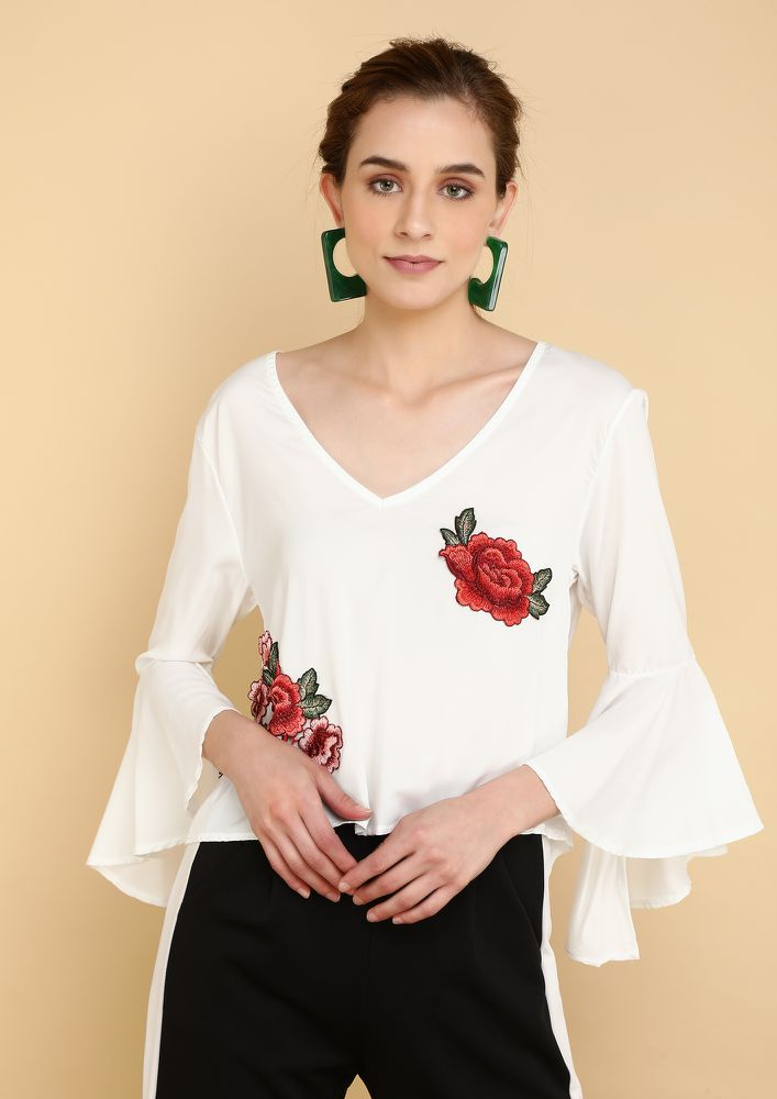 FLORAL FLARE WHITE TOP