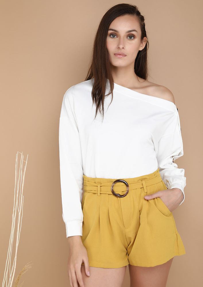 SUITS ME WHITE ONE SHOULDER TOP