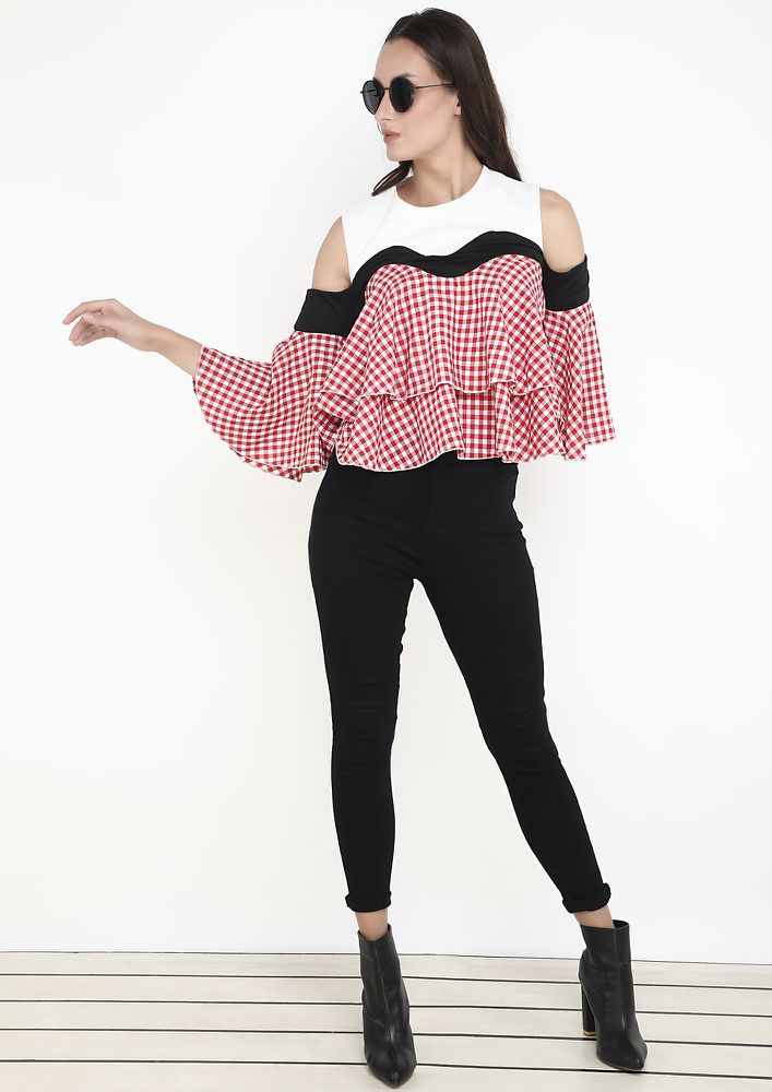 FRILL AND FUN RED CHECKED TOP