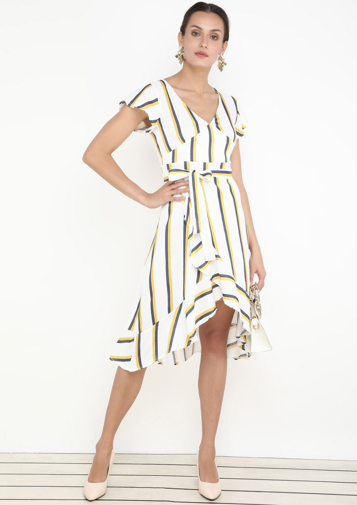STRIPE UP THE OCCASION YELLOW DRESS