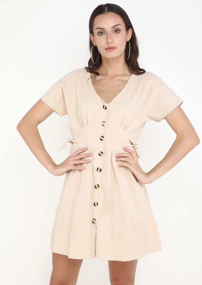 OUT OF THE LEAGUE APRICOT DRESS