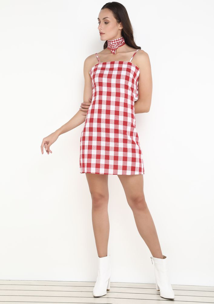 CHECK IT OUT RED CHECK DRESS